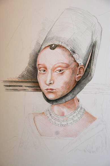 Portret van een jonge vrouw (naar Petrus Christus) - tussenstap