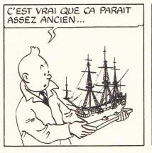 Hergé start het tekenen van de strip op basis van een maquette...in opbouw. Naarmate de bouw van de maquette vordert, vorderen ook de details in de tekeningen. Zo heeft de Eenhoorn hier nog geen kanonnen...