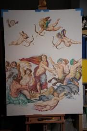 """totaalbeeld met hand en staart van de """"centaur"""". Huidskleuren Galatea en zeenimf bijgekleurd."""